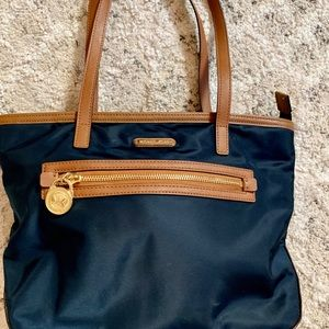 Michael Kors leather and nylon shoulder handbag